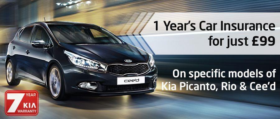 1 Year's Car Insurance for £99 on Selected New Kia