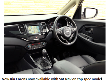 Kia Carens now Available with Built in Sat Nav